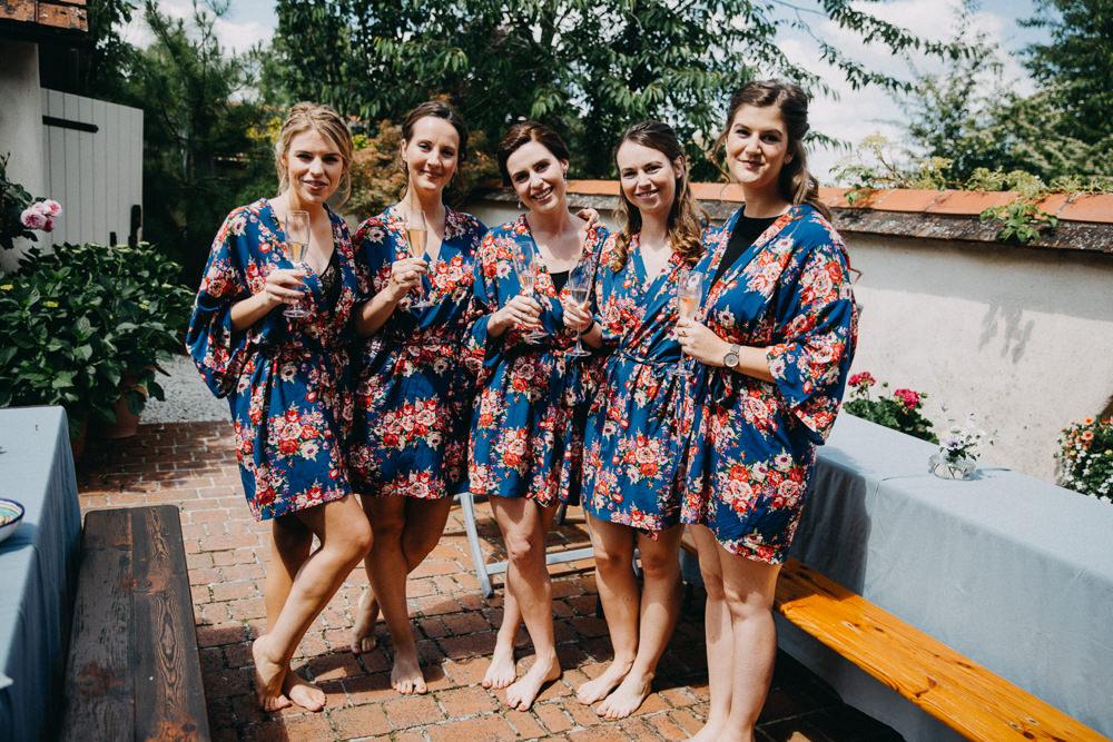 Bride Bridal Bridesmaids Dressing Gown Robes Horsebridge Station Wedding Emily Grace Photography