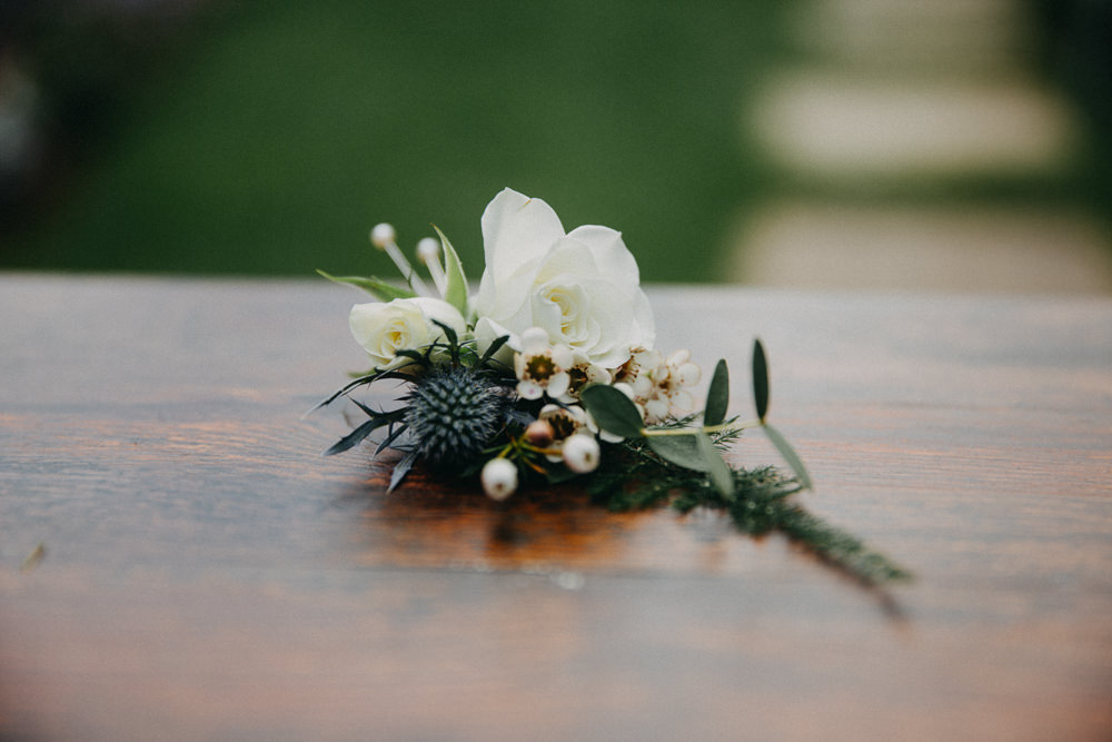 Rose Wax Flower Thistle Buttonhole Horsebridge Station Wedding Emily Grace Photography