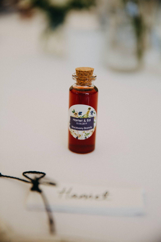 Brandy Drink Favours Mini Bottle Horsebridge Station Wedding Emily Grace Photography