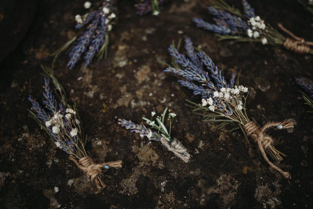 Lavender Buttonhole Flowers Horsley Hale Farm Wedding Thyme Lane Photography