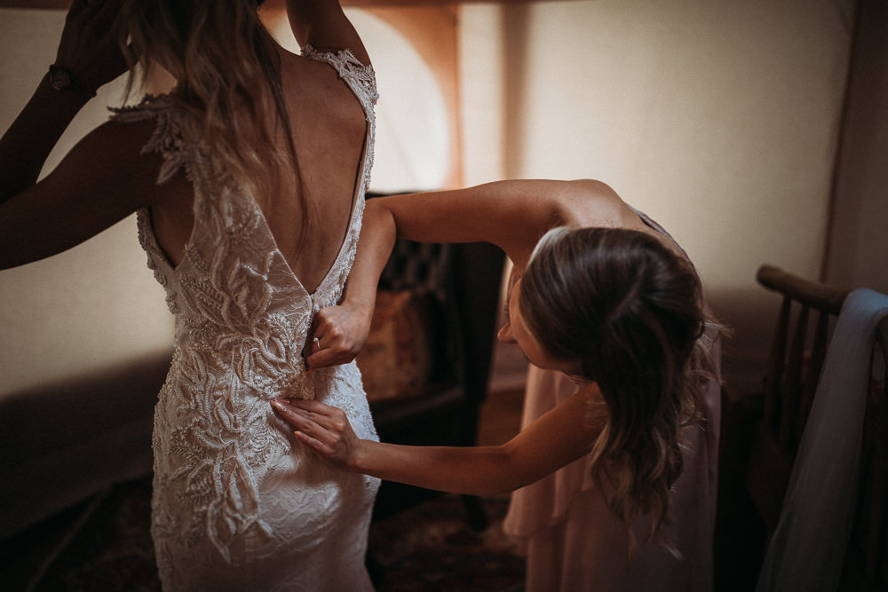 Dress Gown Bride Bridal Justin Alexander Lace Straps Fit and Flare Horsley Hale Farm Wedding Thyme Lane Photography