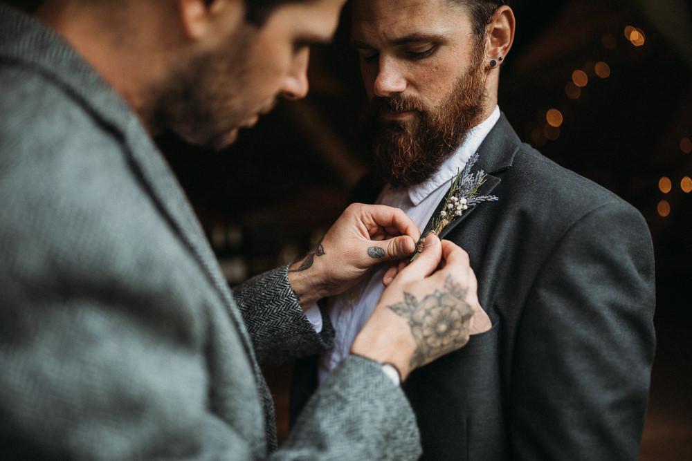 Groom Groomsmen Suit Collar Grey Buttonhole Flowers Horsley Hale Farm Wedding Thyme Lane Photography