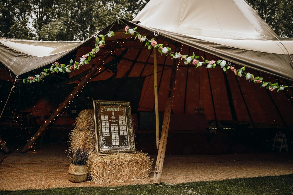 Tipi Flower Garland Seating Plan Table Chart Horsley Hale Farm Wedding Thyme Lane Photography