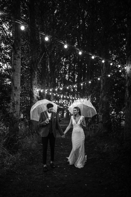Rainy Rain Umbrella Horsley Hale Farm Wedding Thyme Lane Photography