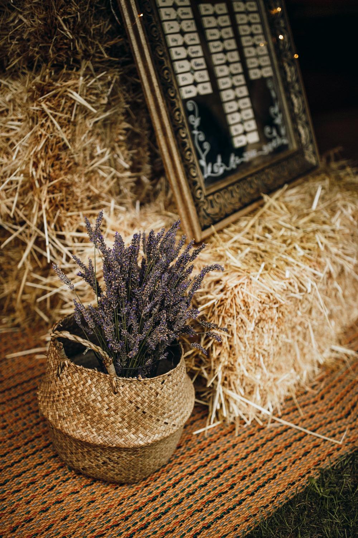 Belly Basket Flowers Lavender Horsley Hale Farm Wedding Thyme Lane Photography