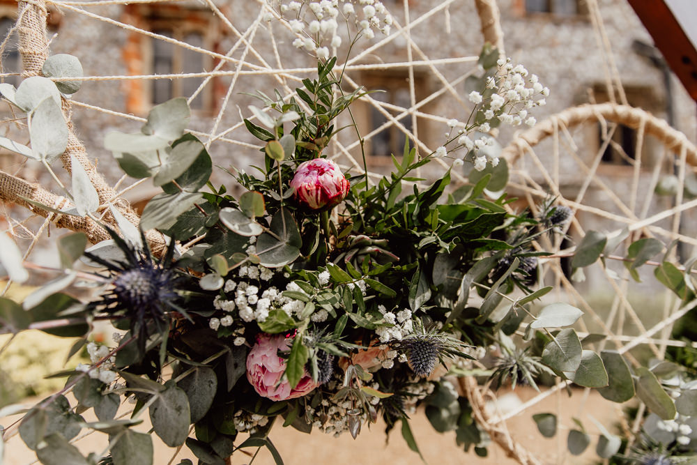 Ceremony Backdrop Wooden Frame Hoops Dream Catchers Flowers Aisle Mannington Gardens Wedding Cara Zagni Photography