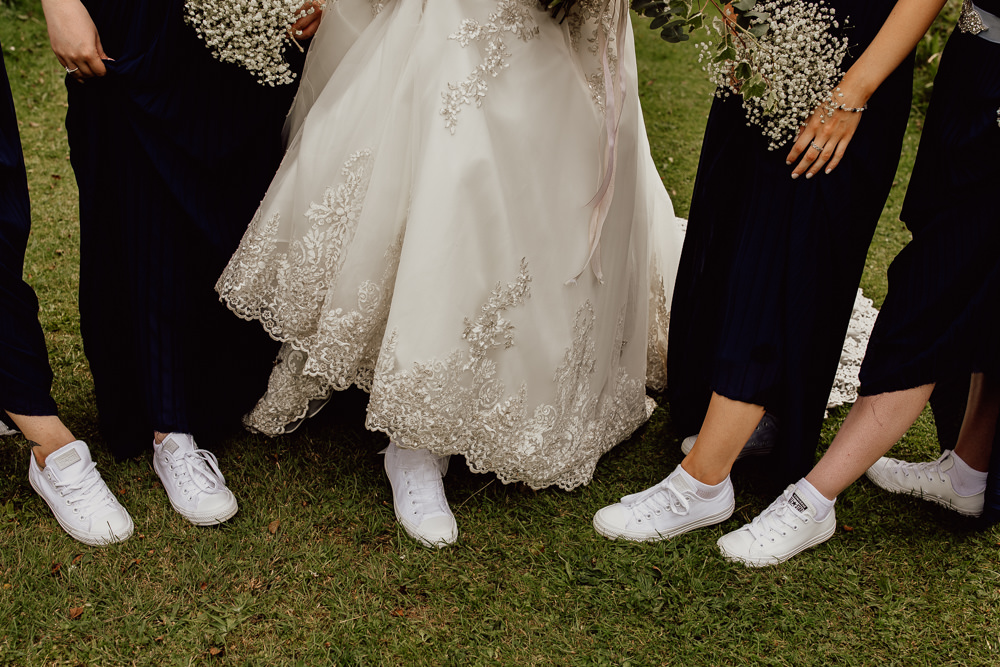 Bride Bridal Bridesmaids Trainers Mannington Gardens Wedding Cara Zagni Photography