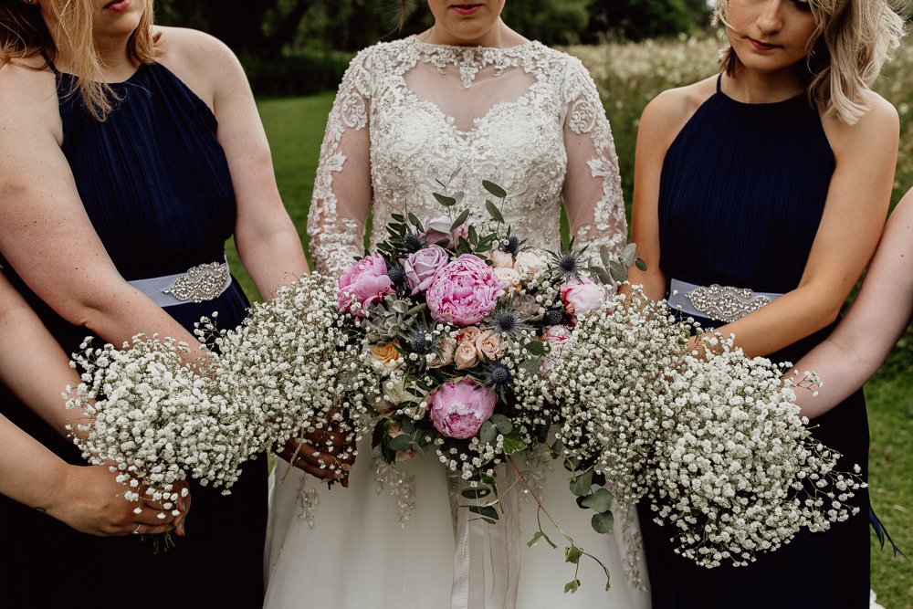 Bouquet Flowers Bride Bridal Pink Peony Peonies Eucalyptus Bridesmaids Gyp Gypsophila Baby Breath Mannington Gardens Wedding Cara Zagni Photography