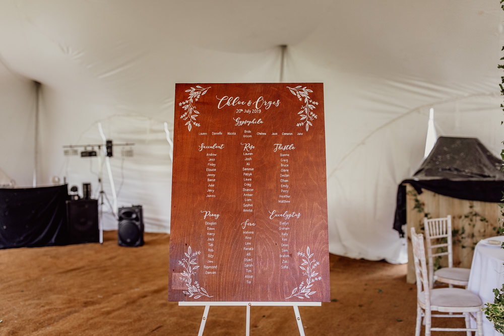 Wooden Seating Plan Table Chart Calligraphy Mannington Gardens Wedding Cara Zagni Photography