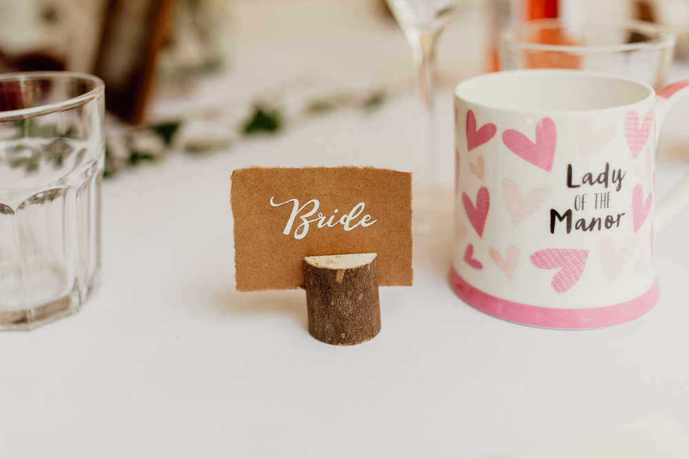 Log Slice Place Name Card Mannington Gardens Wedding Cara Zagni Photography