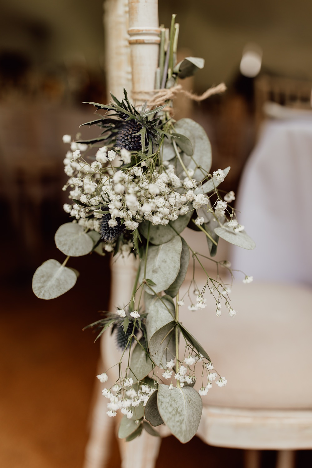 Chair Flowers Gyp Gypsophila Eucalyptus Mannington Gardens Wedding Cara Zagni Photography
