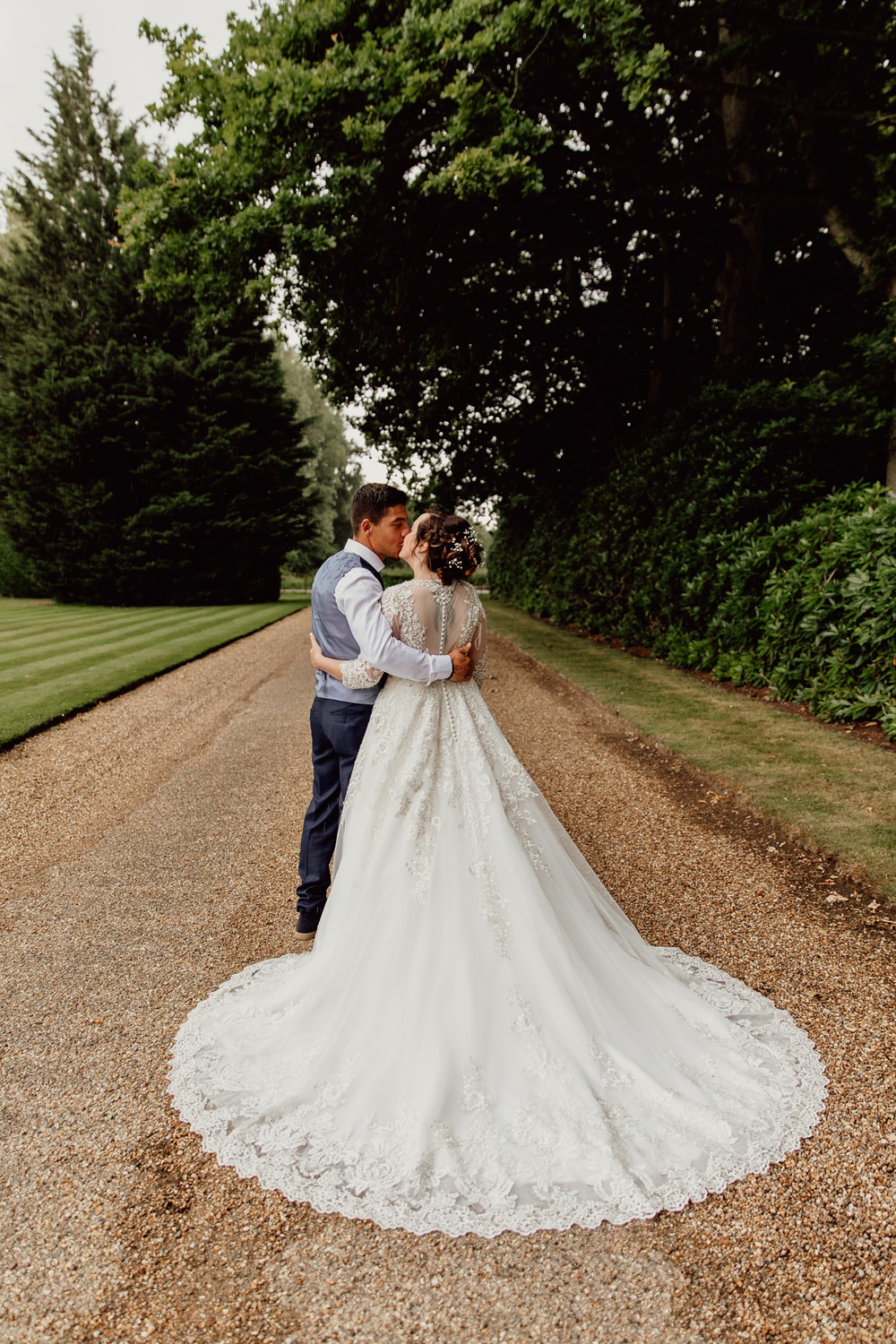 Bride Bridal Dress Gown Lace Button Back Train Long Sleeves Mannington Gardens Wedding Cara Zagni Photography