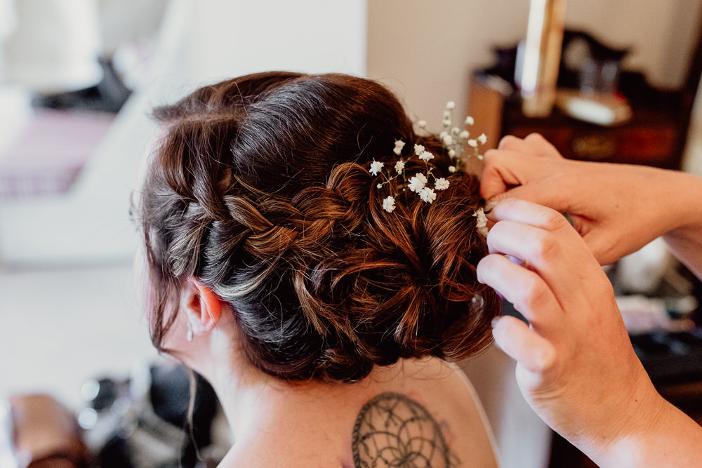 Bride Bridal Bridesmaid Hair Style Up Do Plait Braid Flowers Mannington Gardens Wedding Cara Zagni Photography