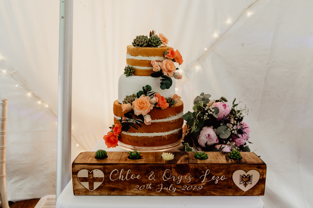 Naked Cake Iced Flowers Berries Fruit Mannington Gardens Wedding Cara Zagni Photography
