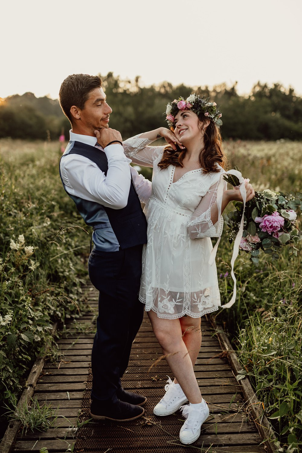 Bride Bridal Dress Gown Short Lace Long Sleeves Flower Crown Mannington Gardens Wedding Cara Zagni Photography