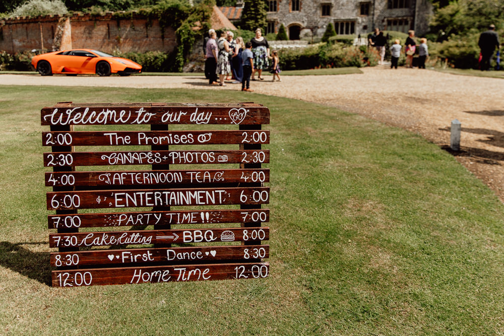 Wooden Pallet Sign Signage Signs Order Of The Day Mannington Gardens Wedding Cara Zagni Photography