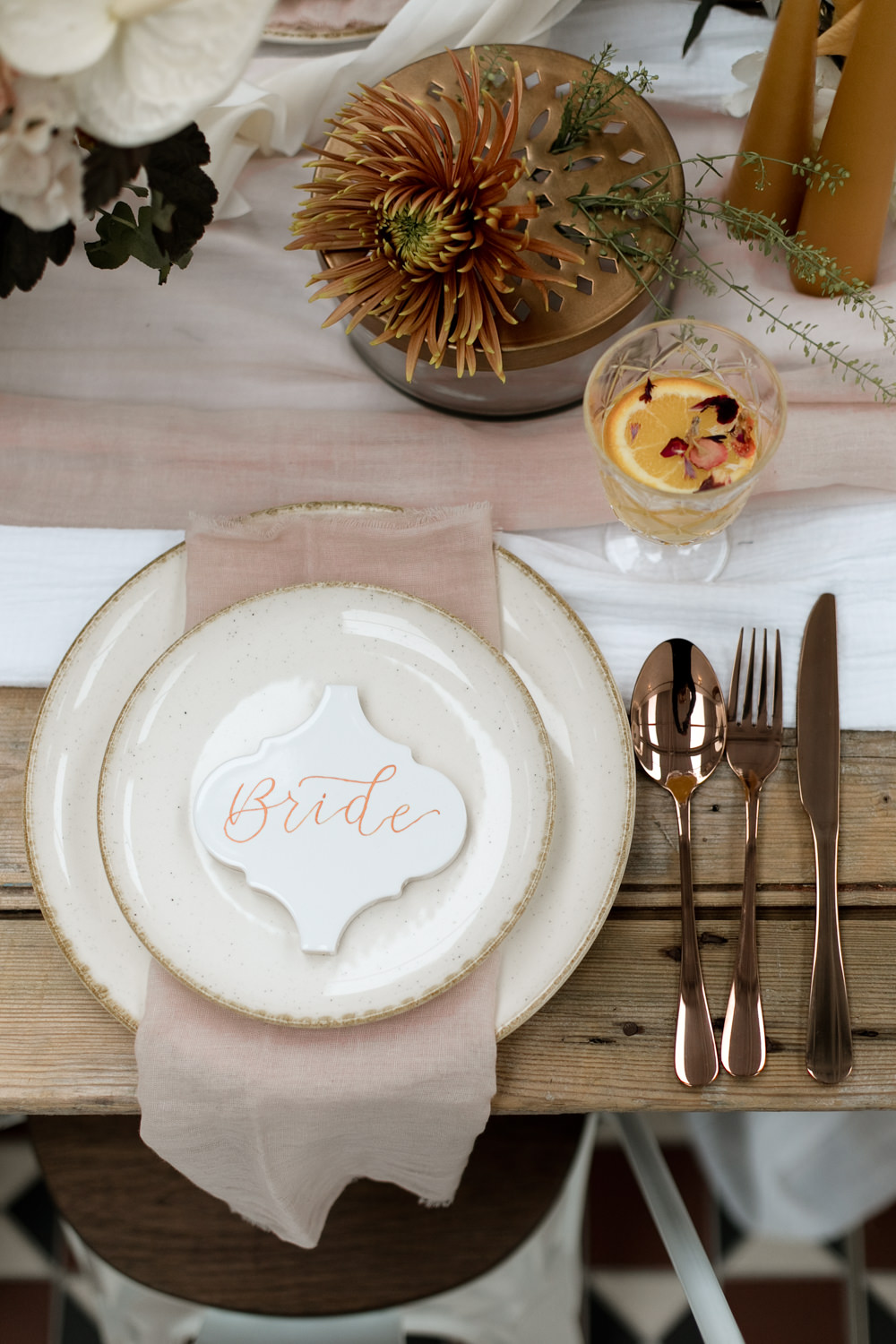 Place Card Setting Name Cutlery Moroccan Wedding Ideas Emma Louise Photography