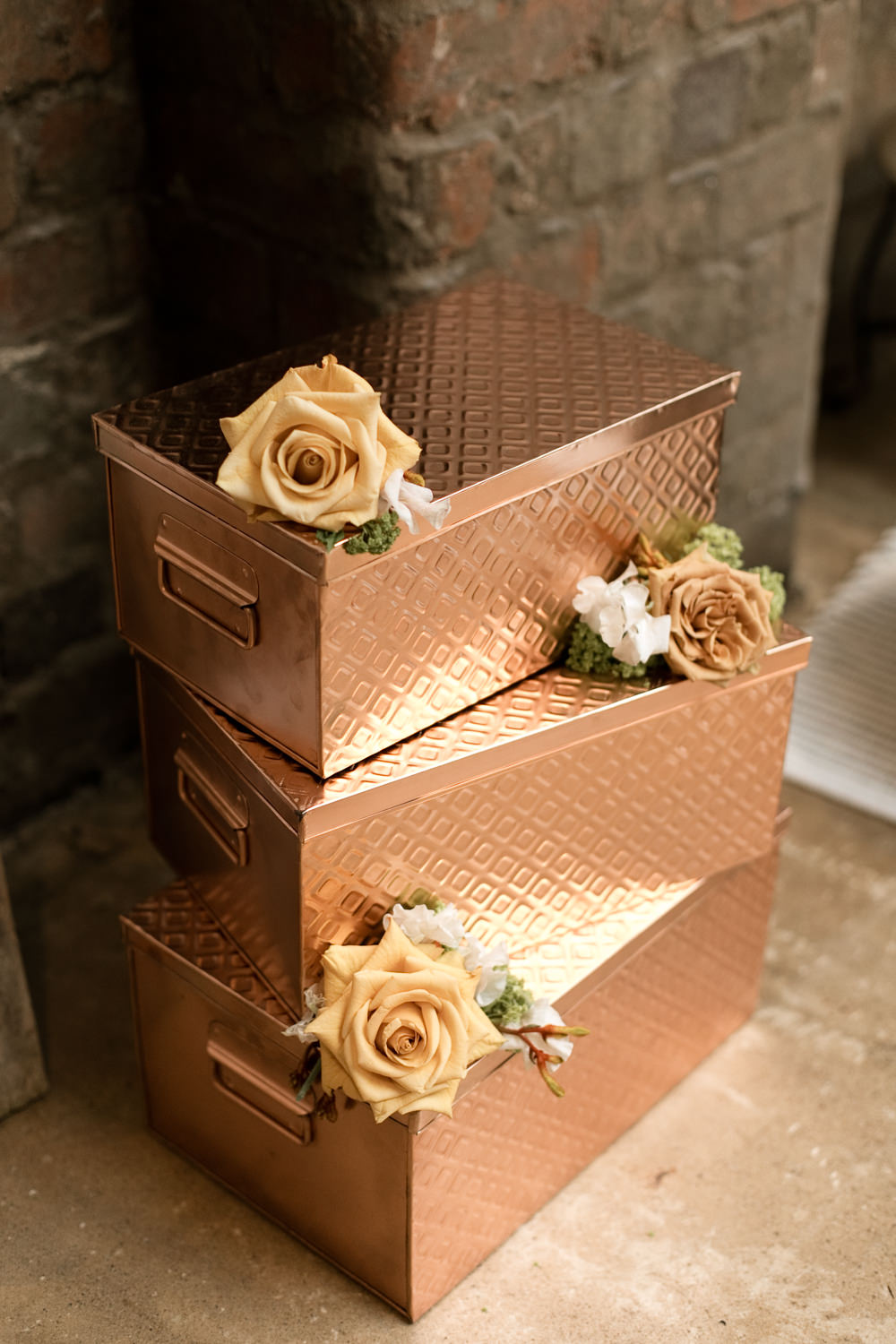 Copper Boxes Flowers Moroccan Wedding Ideas Emma Louise Photography