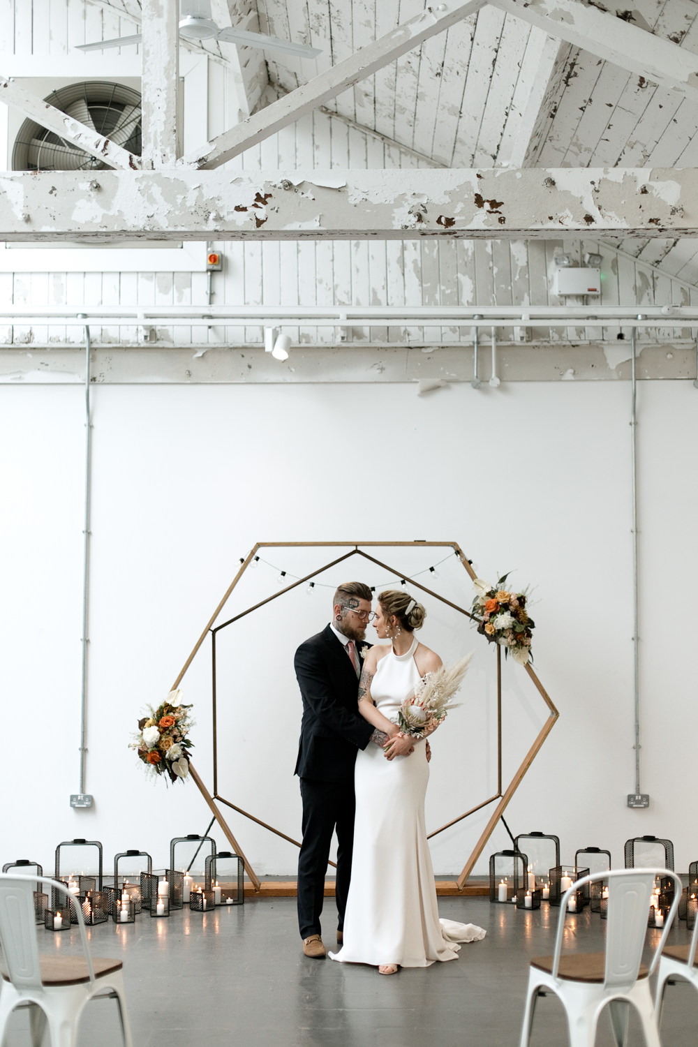 Hexagon Backdrop Arch Ceremony Decor Aisle Flowers Lights Moroccan Wedding Ideas Emma Louise Photography