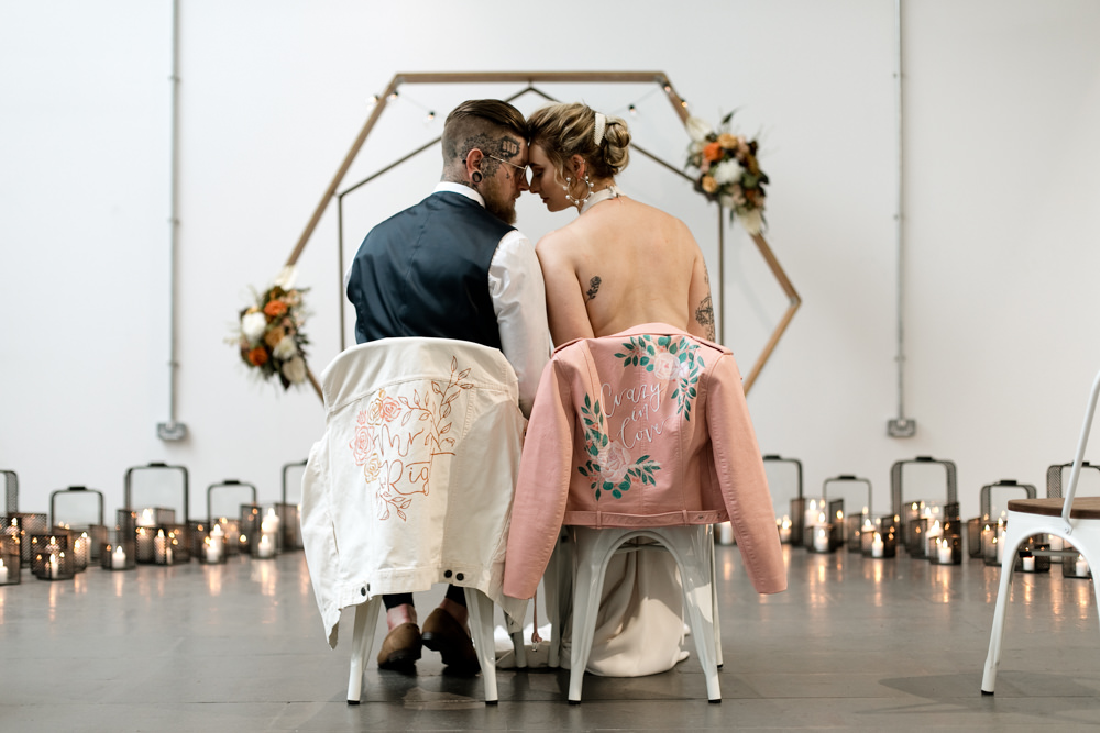 Leather Jacket Pink Painted Personalised Bride Bridal Groom Moroccan Wedding Ideas Emma Louise Photography