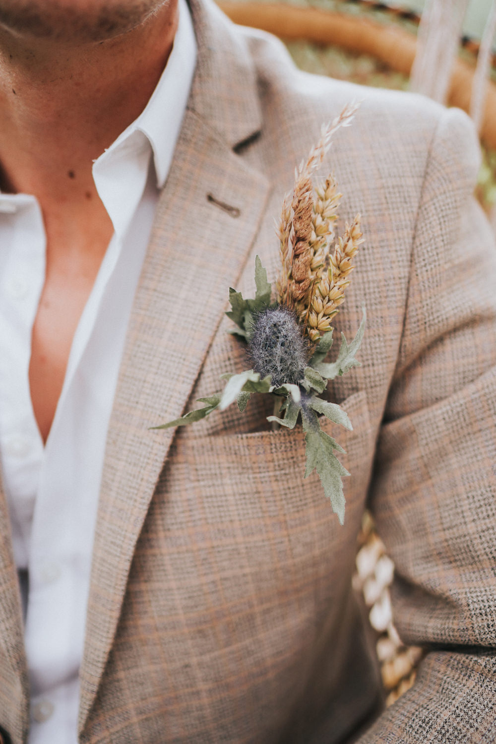 Buttonhole Groom Flowers Wheat Grass Naked Tipi Wedding Ideas Holly Rose Stones