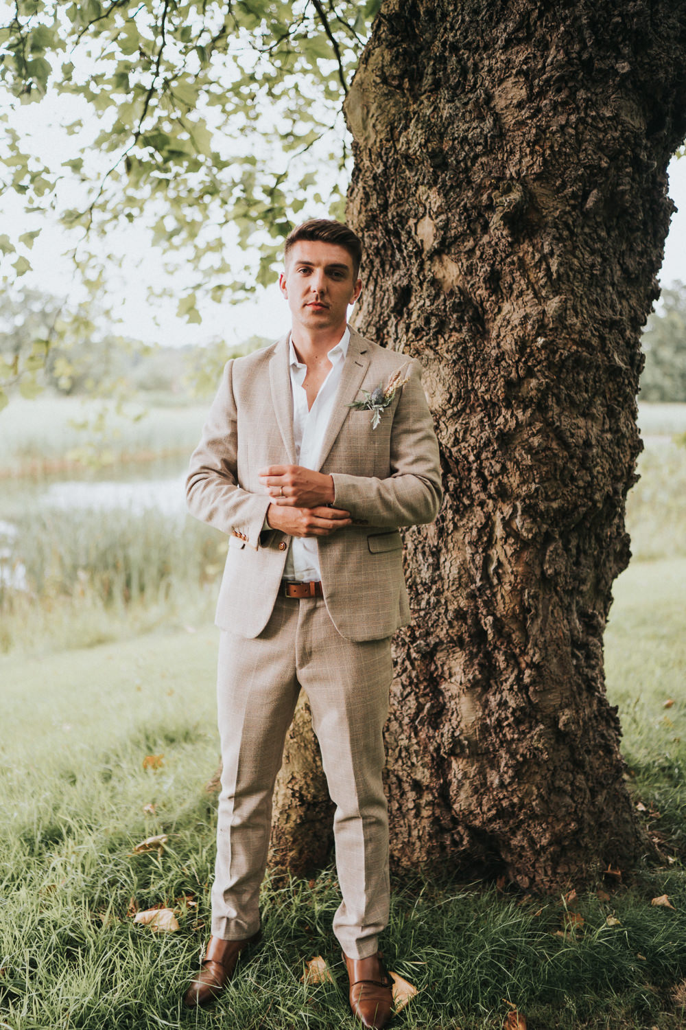 Groom Suit Taupe Check Shirt Open Collar Naked Tipi Wedding Ideas Holly Rose Stones
