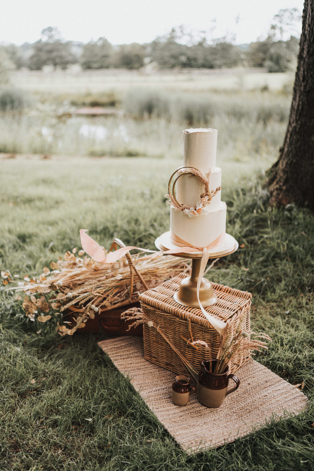 Cake Table Stand Basket Grass Grasses Wheat Naked Tipi Wedding Ideas Holly Rose Stones