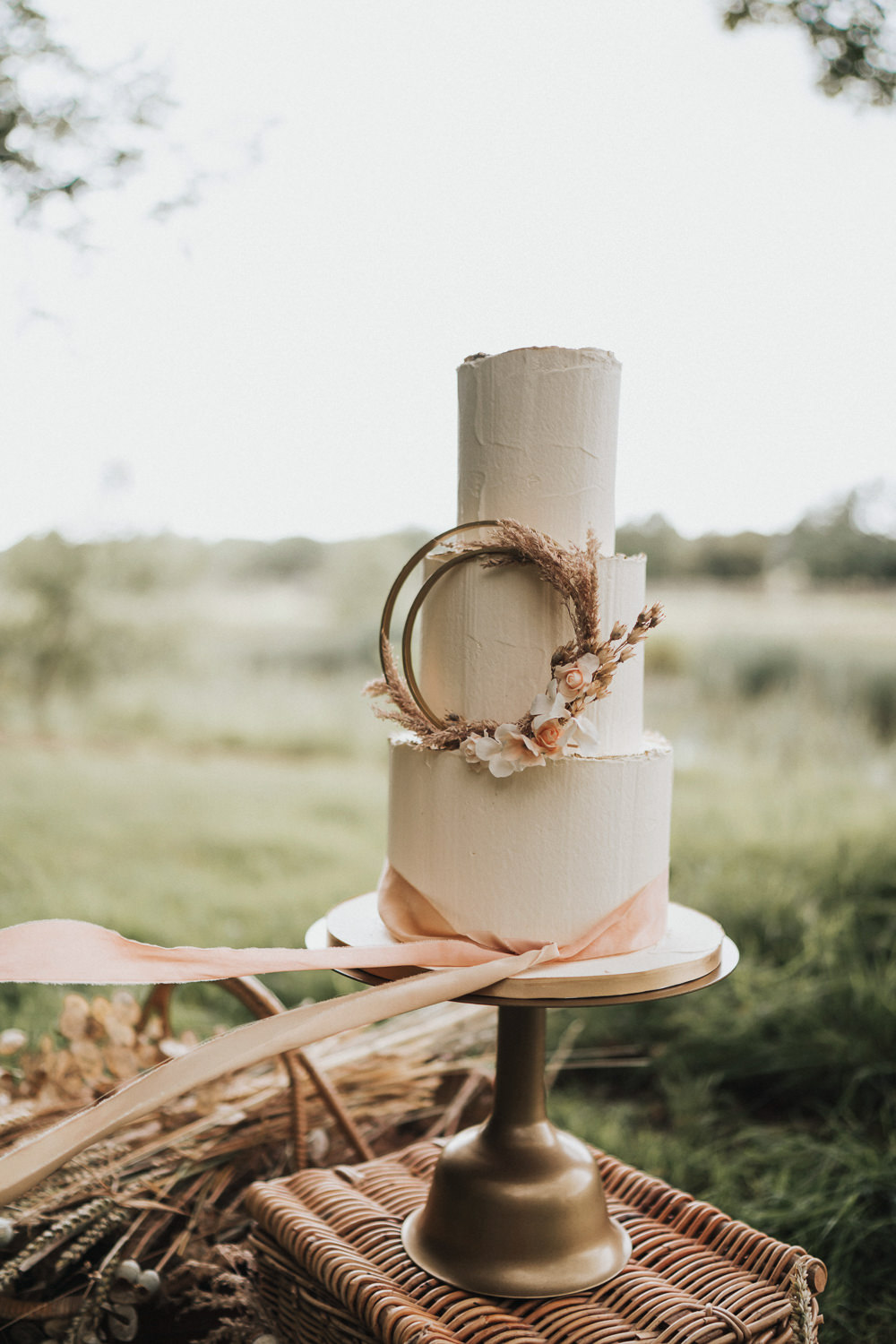 Cake Iced Buttercream Hoop Dried Flowers Florals Wheat Grass Grasses Ribbon Naked Tipi Wedding Ideas Holly Rose Stones