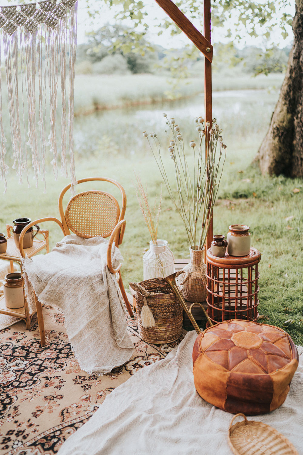 Peacock Chair Macrame Decor Backdrop Frame Pampas Grass Naked Tipi Wedding Ideas Holly Rose Stones