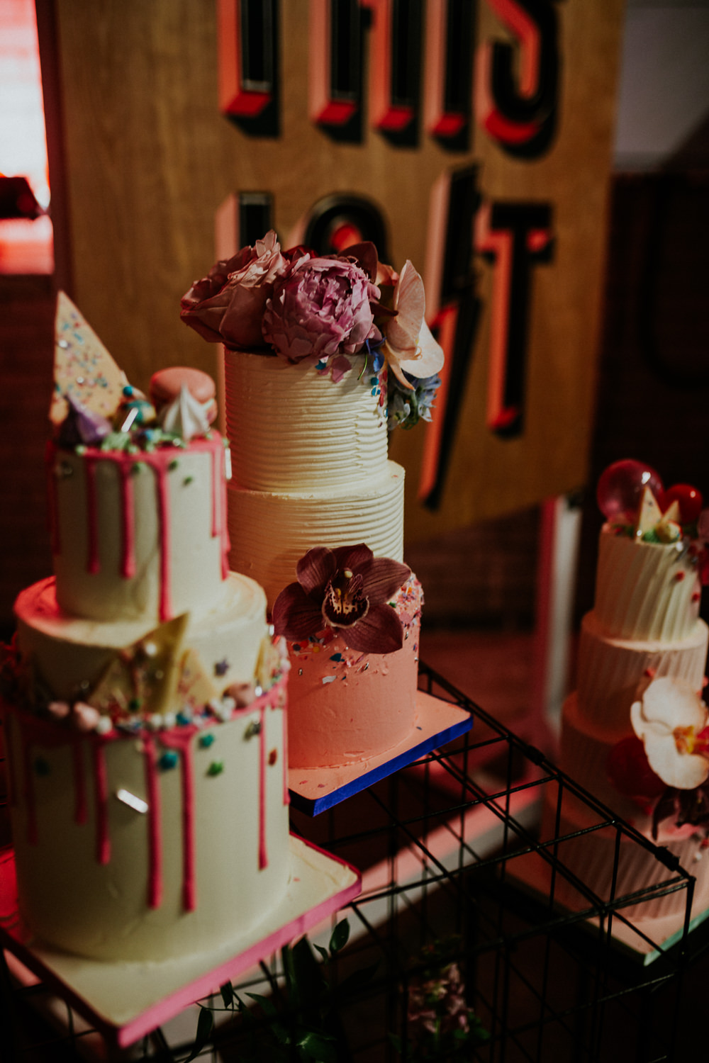Cake Table Cakes Drip Ombre Floral Flowers Alternative Glitter Neon Sign Wedding Ideas State Of Love and Trust Photography