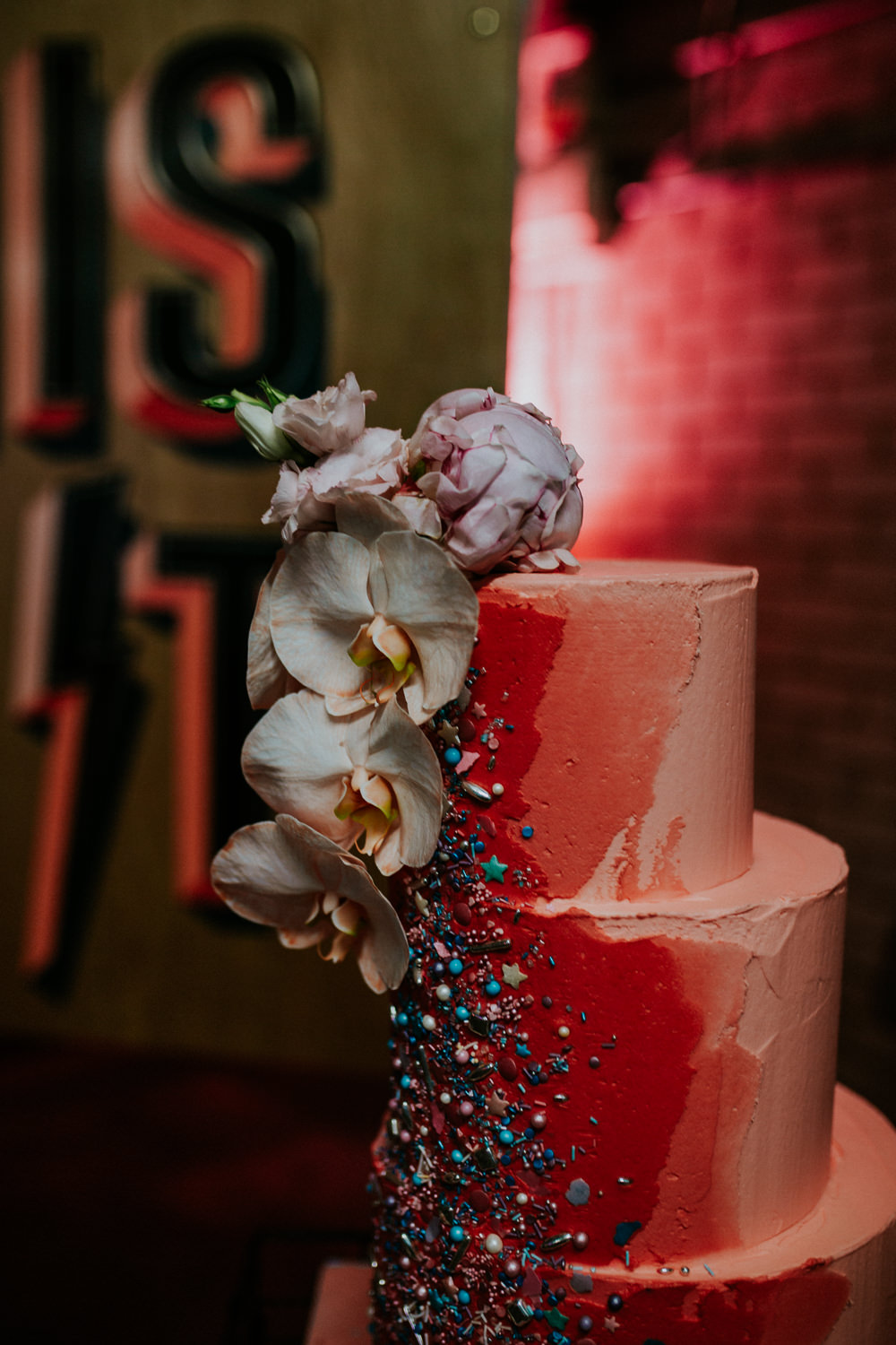 Cake Cakes Floral Painted Pink Brushstroke Neon Sign Wedding Ideas State Of Love and Trust Photography