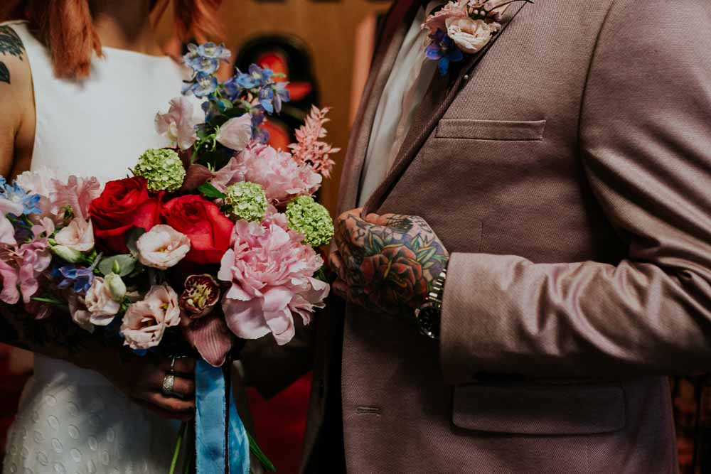 Bouquet Flowers Bride Bridal Colourful Phalaenopsis Orchids Peonies Roses Ferns Neon Sign Wedding Ideas State Of Love and Trust Photography