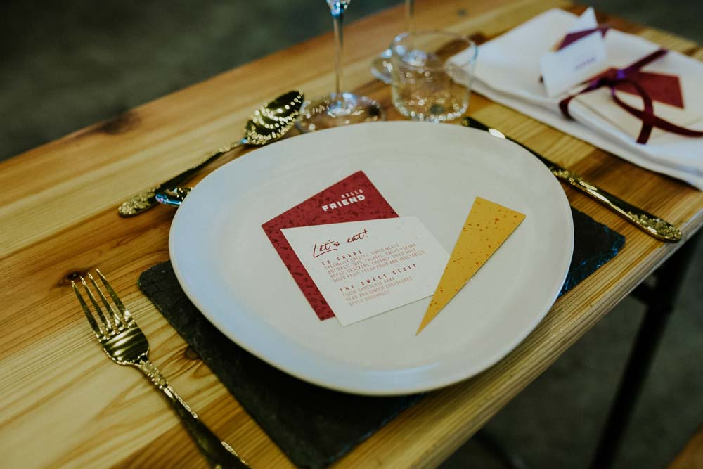 Stationery Geometric Triangle Red Yellow Place Setting Neon Sign Wedding Ideas State Of Love and Trust Photography