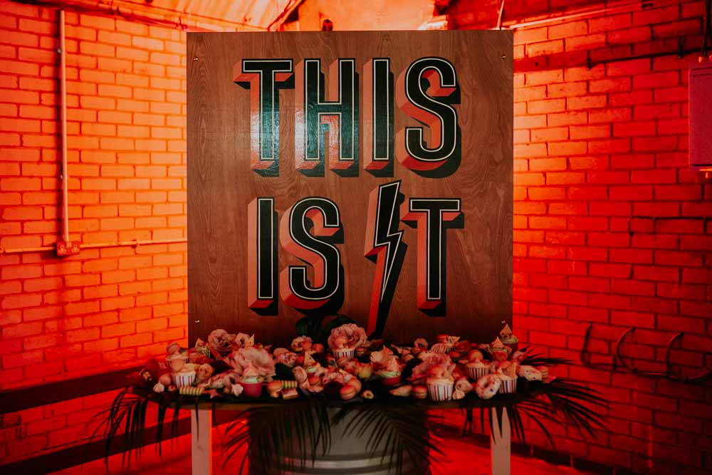 Backdrop Sign Banner Cake Table Dessert Neon Sign Wedding Ideas State Of Love and Trust Photography