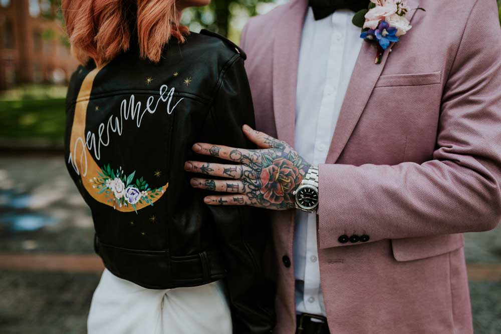 Leather Jacket Bride Bridal Painted Personalised Moon Celestial Neon Sign Wedding Ideas State Of Love and Trust Photography