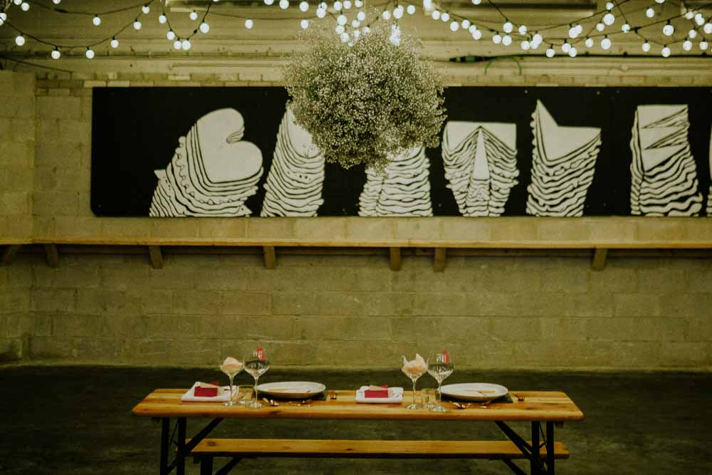 Table Tablescape Decor Decoration Baby Breath Gyp Gypsophila Cloud Suspended Hanging Flowers Neon Sign Wedding Ideas State Of Love and Trust Photography