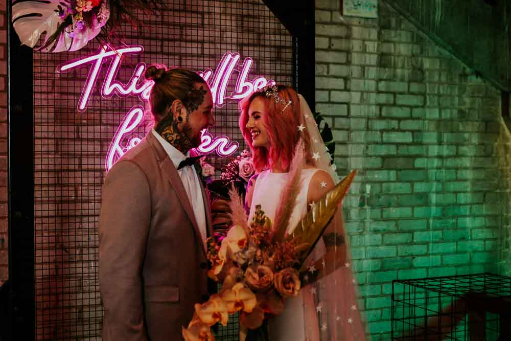 Bouquet Flowers Bride Bridal Colourful Pampas Grass Phalaenopsis Orchids Peonies Roses Ferns Neon Sign Wedding Ideas State Of Love and Trust Photography