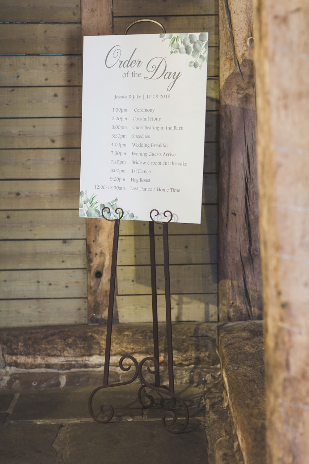 Order of the Day Sign Signage Signs Greenery Priory Little Wymondley Wedding Milk Bottle Photography
