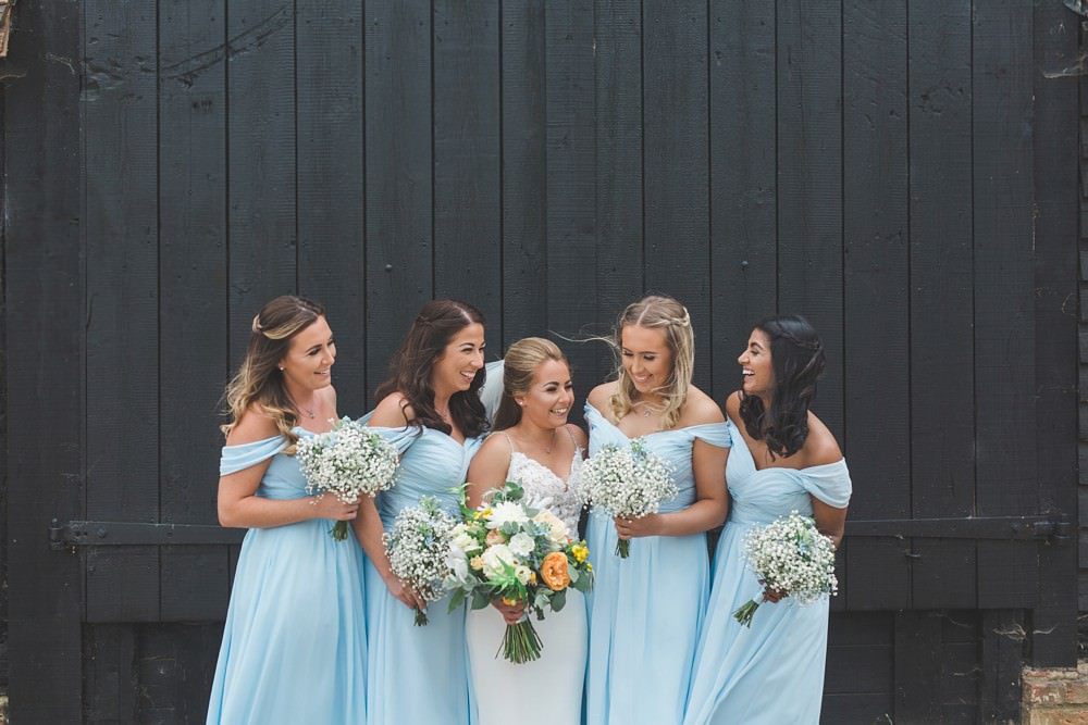 Bridesmaids Bridesmaid Dress Dresses Blue Priory Little Wymondley Wedding Milk Bottle Photography