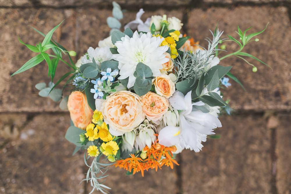 Bouquet Flowers Bride Bridal Orange Coral Cream Eucalptus Rose Priory Little Wymondley Wedding Milk Bottle Photography