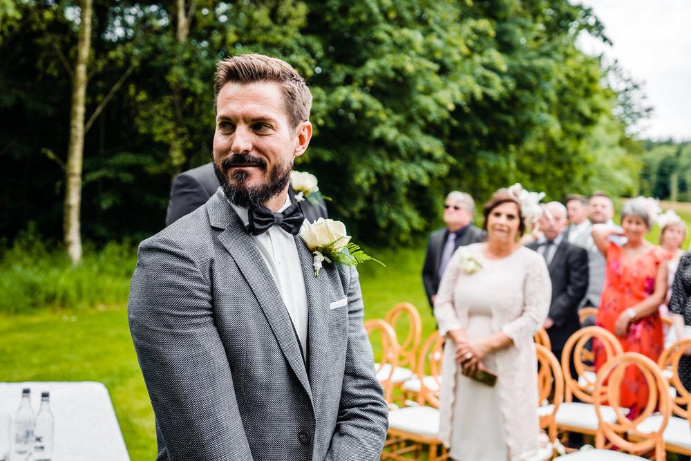 Groom Suit Grey Bow Tie Secret Garden Wedding James Powell Photography