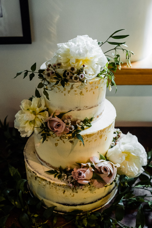 Semi Naked Cake Buttercream Flowers Gold Leaf Secret Garden Wedding James Powell Photography