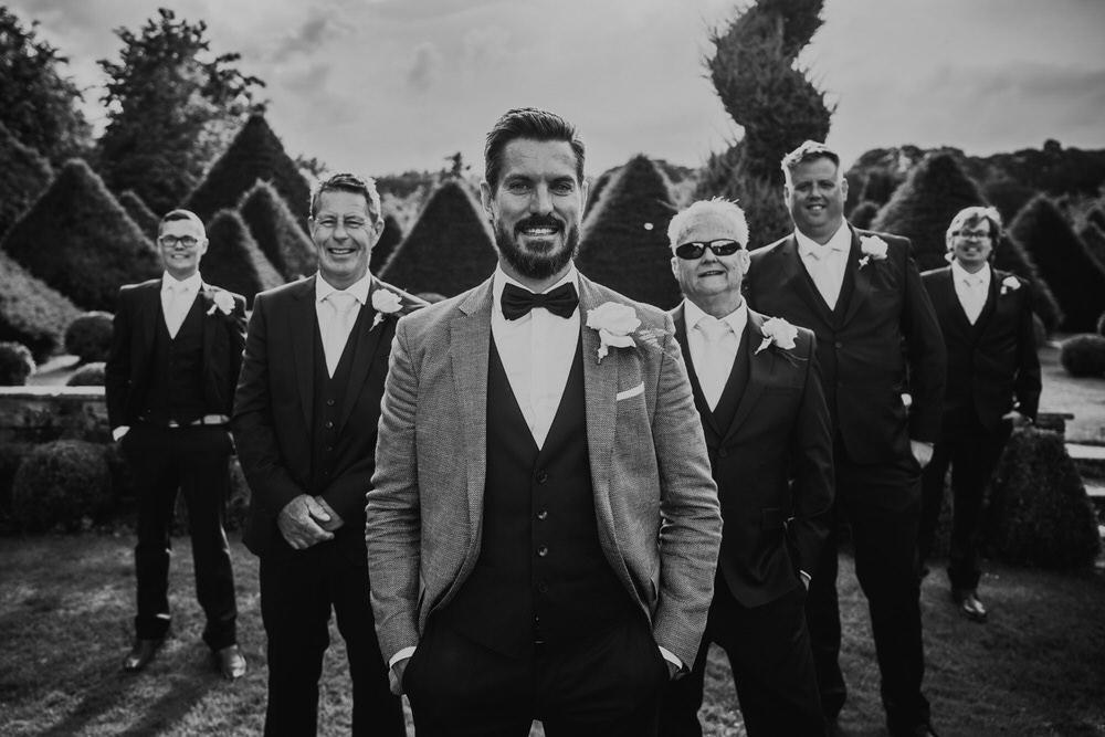 Groom Suit Grey Bow Tie Groomsmen Secret Garden Wedding James Powell Photography