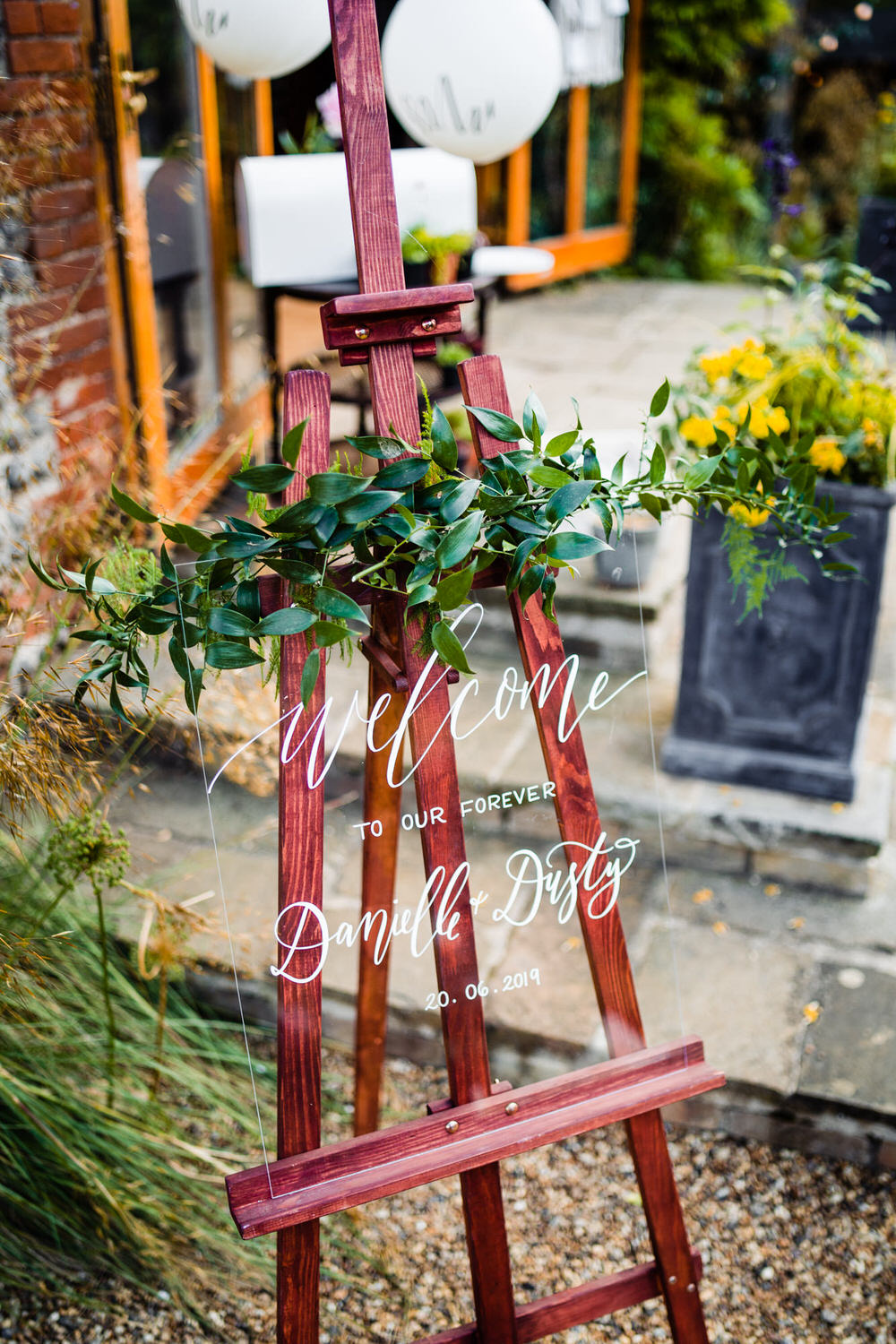 Perspex Sign Acrylic Glass Clear Calligraphy Signage Signs Greenery Foliage Secret Garden Wedding James Powell Photography