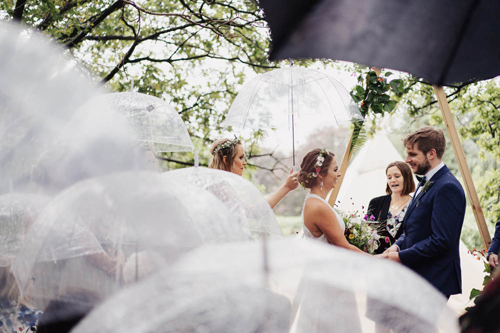 Rainy Storm Outdoor Ceremony Tipi Garden Wedding Kit Myers Photography