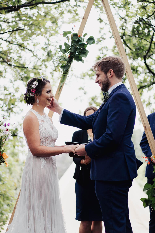 Backdrop Ceremony Wooden Frame Triangle Naked Tipi Garden Wedding Kit Myers Photography