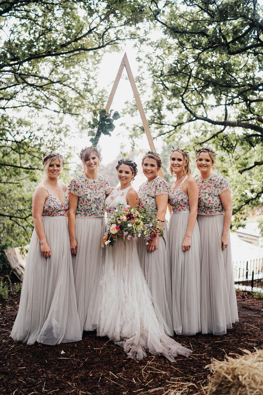 Bridesmaids Bridesmaid Dress Dresses Floral Top Skirt Needle & Thread Grey Tipi Garden Wedding Kit Myers Photography