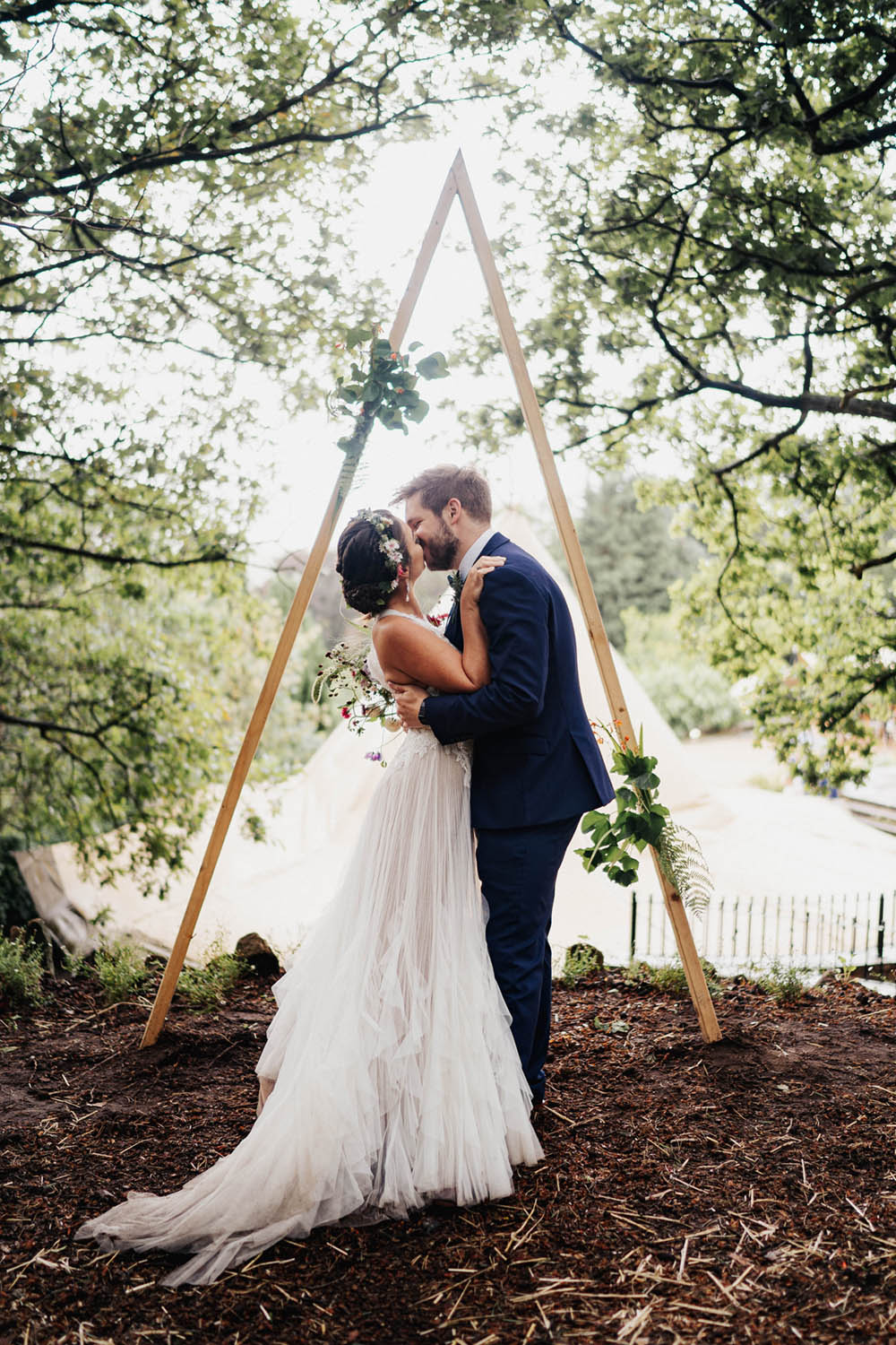 Bride Bridal Dress Gown Tipi Garden Wedding Kit Myers Photography Tulle Lace High Neckline Ruffle Skirt Tipi Garden Wedding Kit Myers Photography
