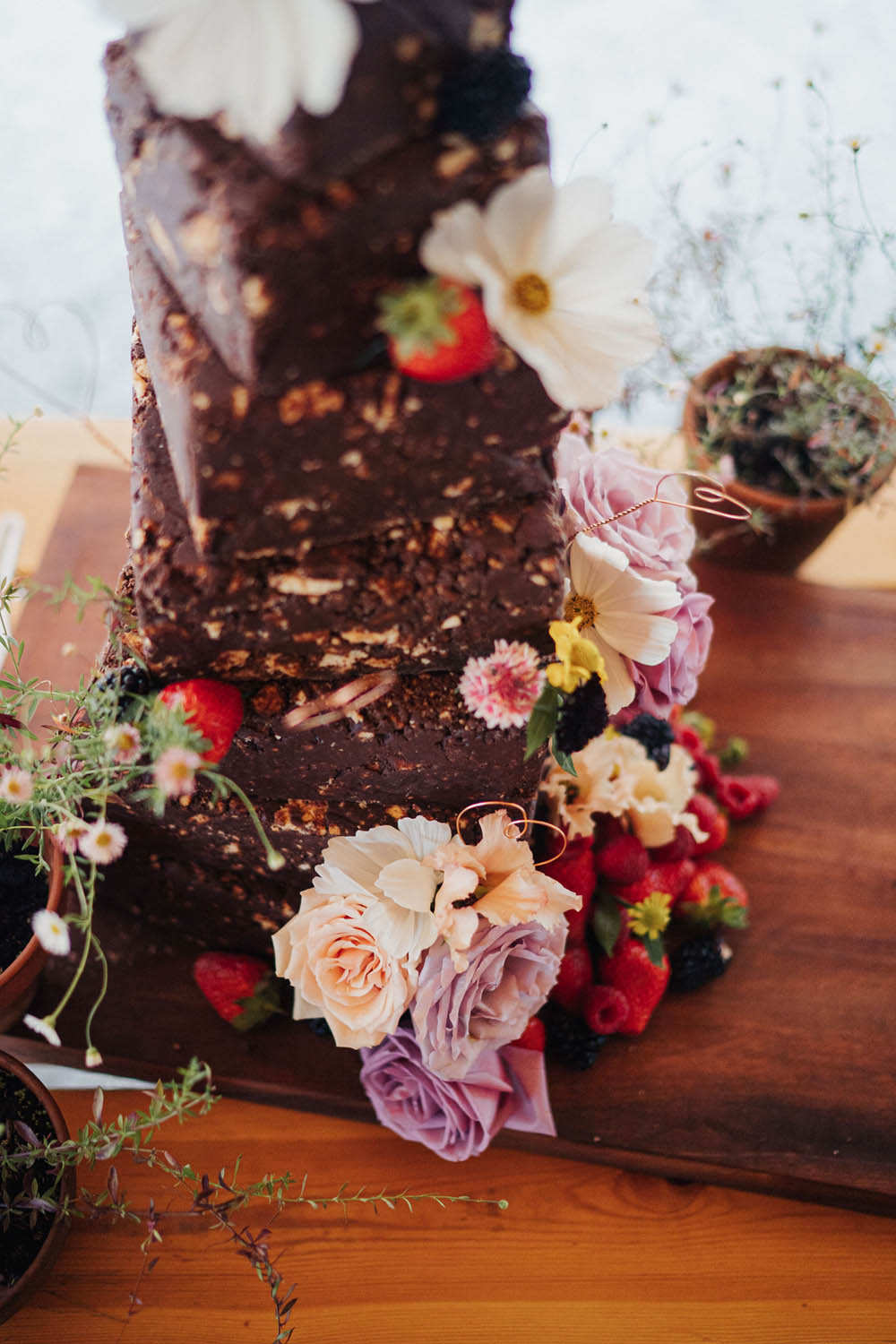 Chocolate Death Cake Flowers Tall Tipi Garden Wedding Kit Myers Photography