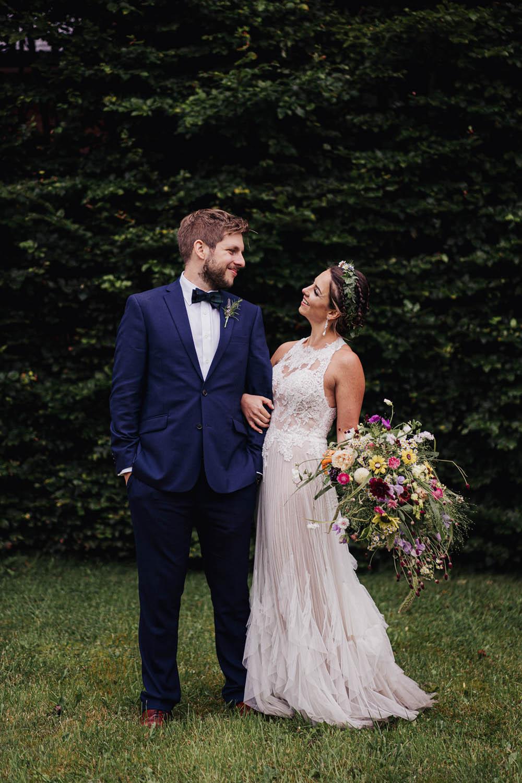 Groom Groomsmen Suits Blue Bow Tie Tartan Tipi Garden Wedding Kit Myers Photography